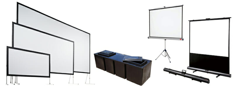 Range of hire projection screens